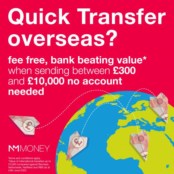 Fee-free, overseas money transfers with NM Money