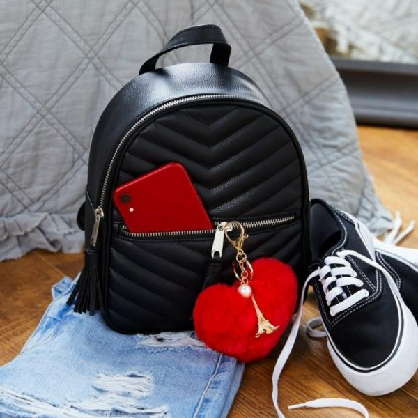 Black quilted backpack from Claire's
